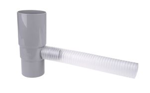 Water outlet w. flexible hose 75 mm grey