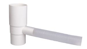 Water outlet w. flexible hose 75 mm white